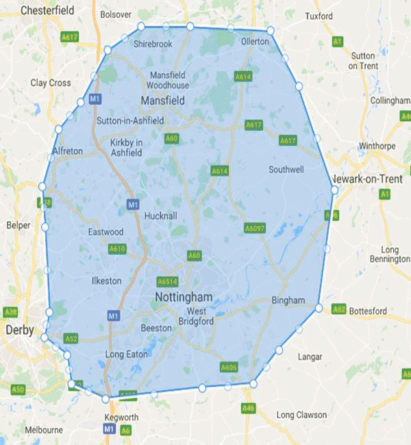 Areas covered map